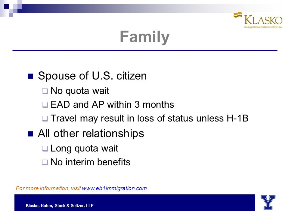 Klasko, Rulon, Stock & Seltzer, LLP Spouse of U.S.