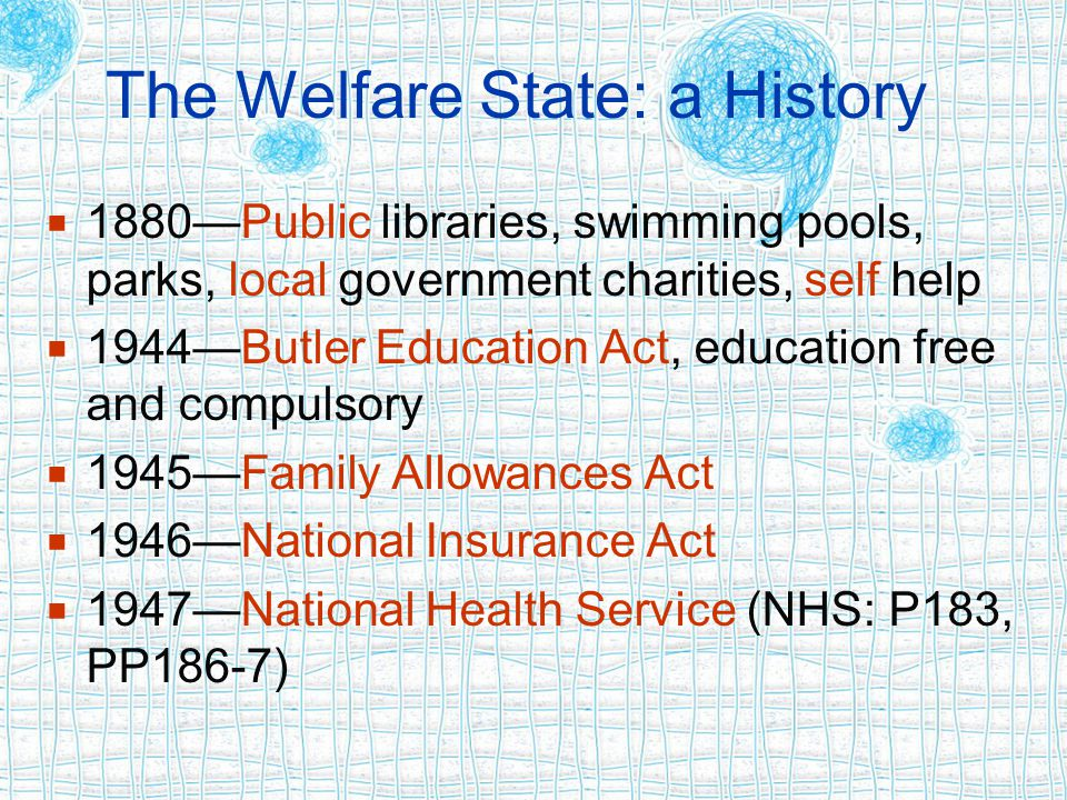 The Welfare State: a History  1880—Public libraries, swimming pools, parks, local government charities, self help  1944—Butler Education Act, education free and compulsory  1945—Family Allowances Act  1946—National Insurance Act  1947—National Health Service (NHS: P183, PP186-7)