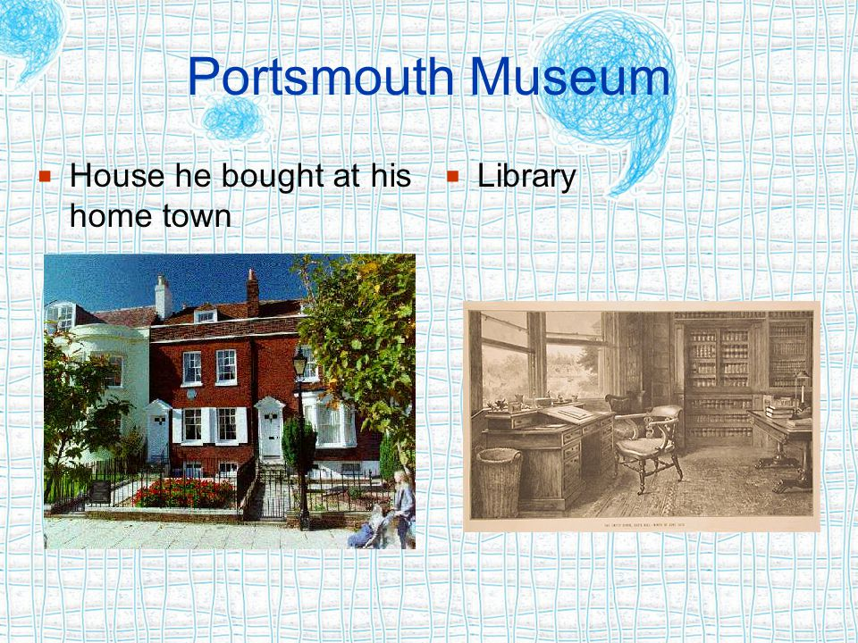 Portsmouth Museum  House he bought at his home town  Library