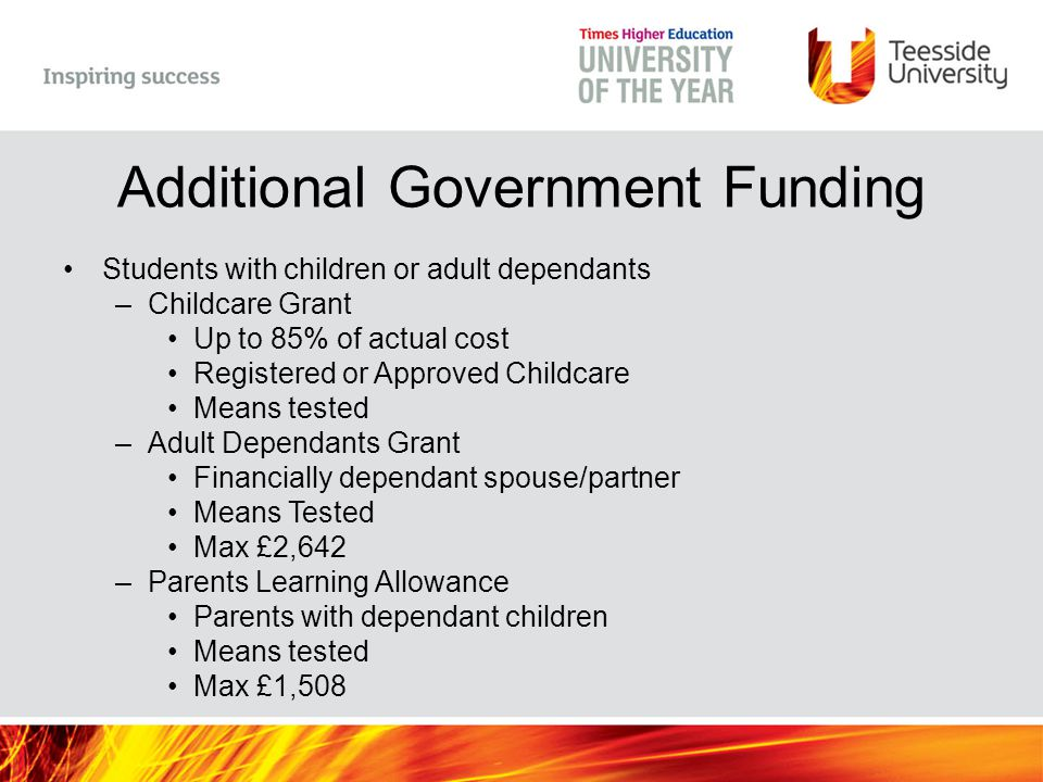 Additional Government Funding Students with children or adult dependants –Childcare Grant Up to 85% of actual cost Registered or Approved Childcare Me