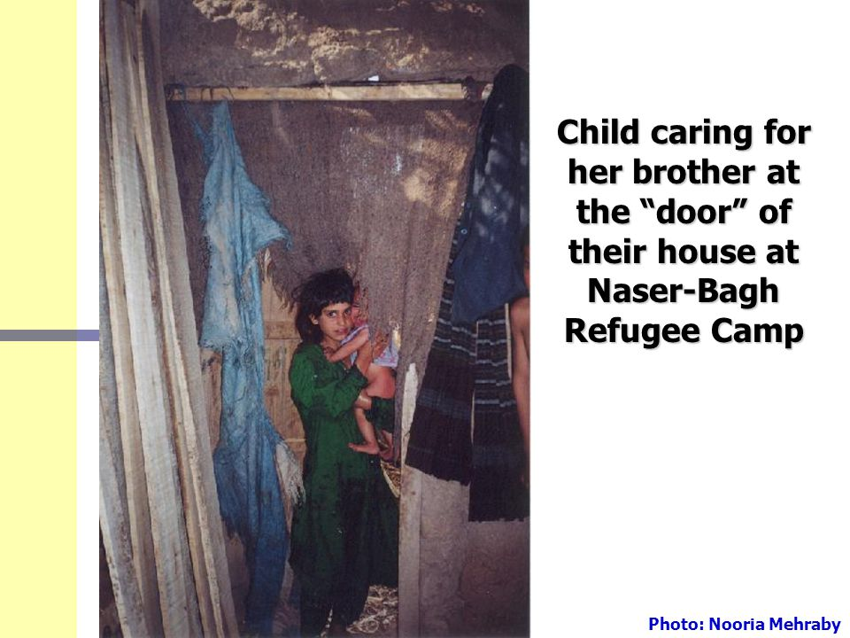 "Child caring for her brother at the ""door"" of their house at Naser-Bagh Refugee Camp Photo: Nooria Mehraby"