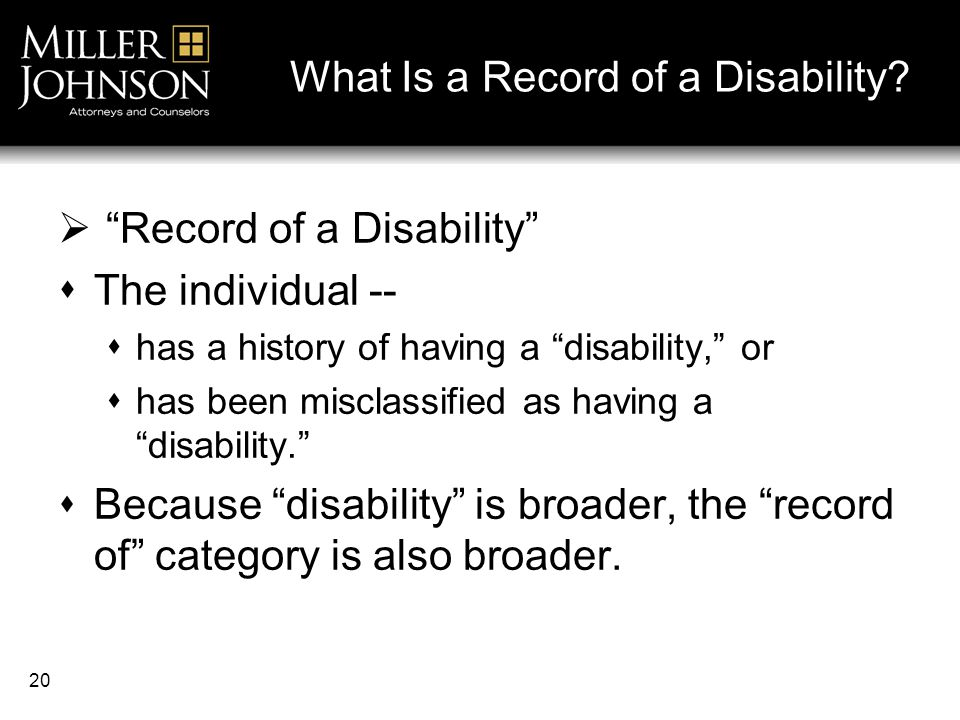 20 What Is a Record of a Disability.