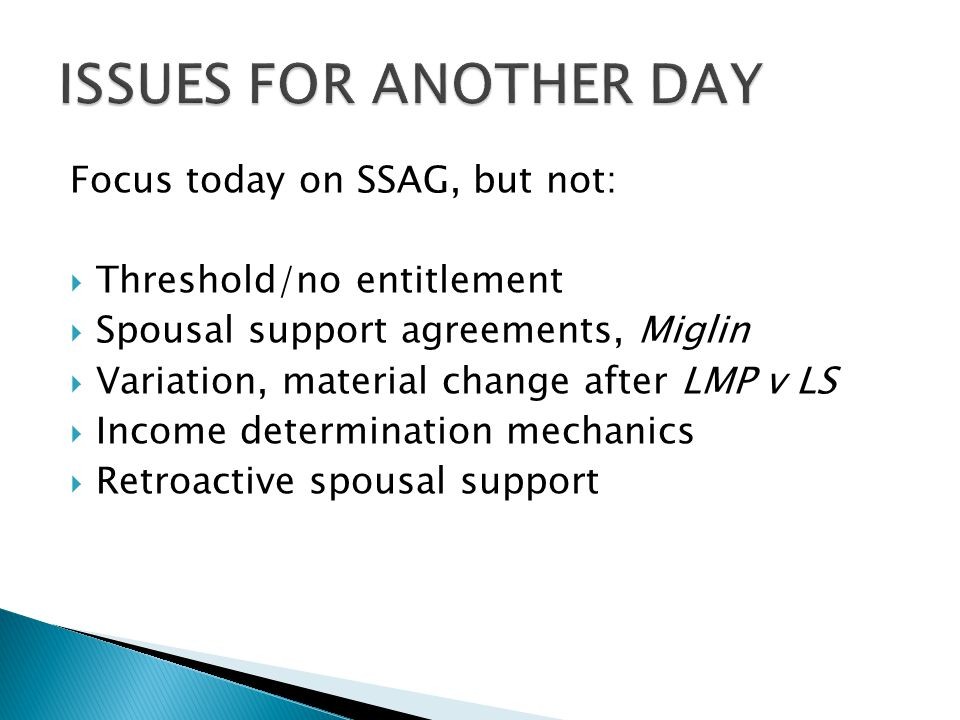 Focus today on SSAG, but not:  Threshold/no entitlement  Spousal support agreements, Miglin  Variation, material change after LMP v LS  Income det