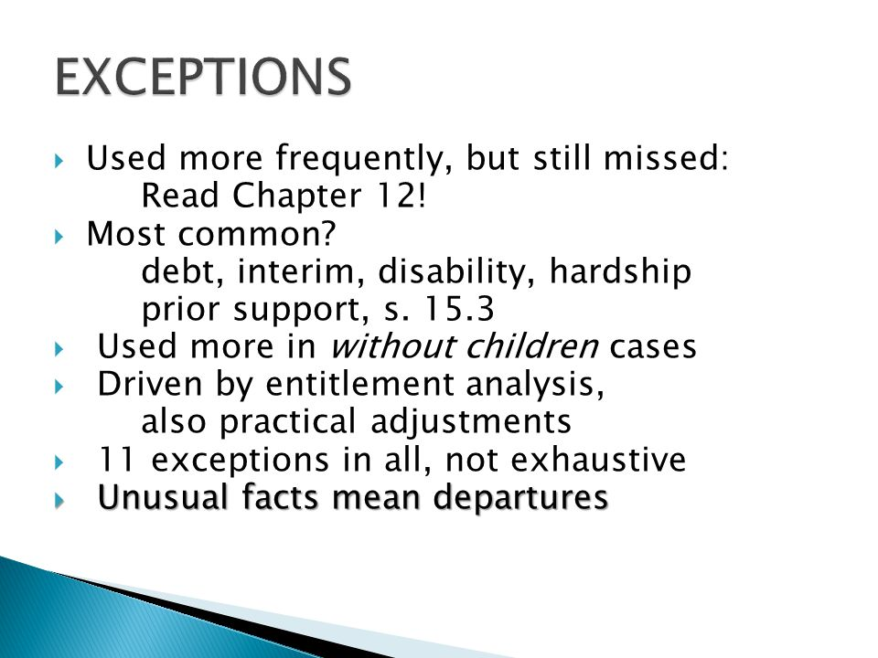  Used more frequently, but still missed: Read Chapter 12!  Most common? debt, interim, disability, hardship prior support, s. 15.3  Used more in wi