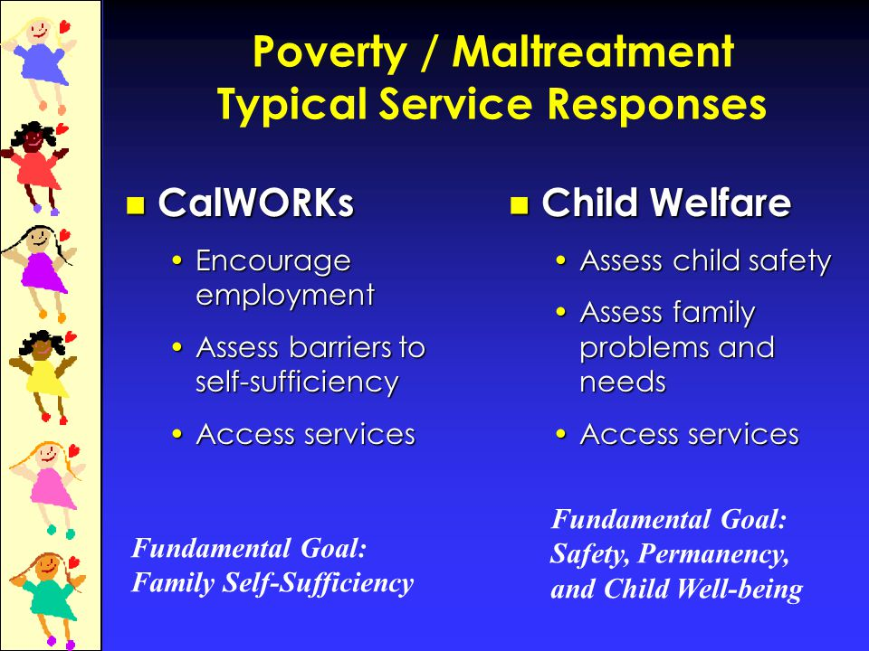 Poverty / Maltreatment Typical Service Responses CalWORKs CalWORKs Encourage employmentEncourage employment Assess barriers to self-sufficiencyAssess barriers to self-sufficiency Access servicesAccess services Child Welfare Assess child safety Assess family problems and needs Access services Fundamental Goal: Family Self-Sufficiency Fundamental Goal: Safety, Permanency, and Child Well-being