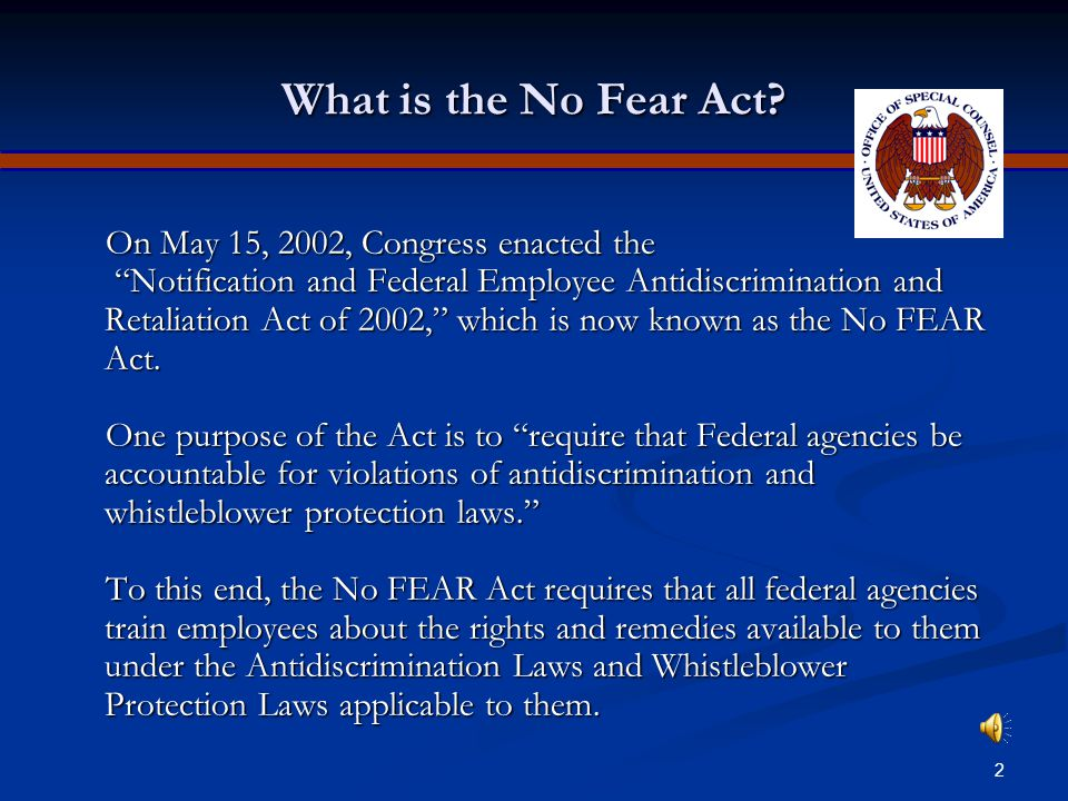 OSC 2006 NO FEAR ACT TRAINING YOUR RIGHTS AND REMEDIES UNDER FEDERAL ANTIDISCRIMINATION AND WHISTLEBLOWER PROTECTION LAWS U.S.