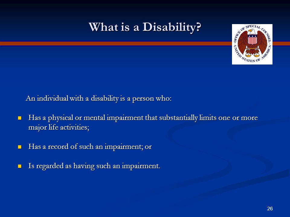 25 Disability Discrimination Title I of the Americans with Disabilities Act of 1990 (ADA) prohibits private employers, state and local governments, employment agencies and labor unions from discriminating against qualified individuals with disabilities in job application procedures, hiring, firing, advancement, compensation, job training, and other terms, conditions, and privileges of employment.