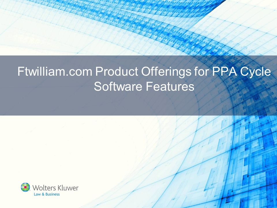Ftwilliam.com Product Offerings for PPA Cycle Software Features