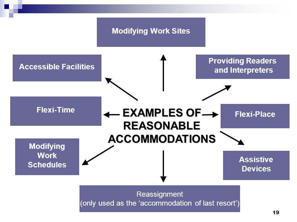 19 EXAMPLES OF REASONABLE ACCOMMODATIONS Modifying Work Sites Providing Readers and Interpreters Assistive Devices Flexi-Time Accessible Facilities Mo
