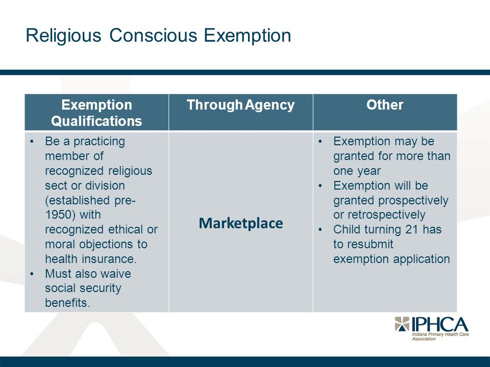 Religious Conscious Exemption Exemption Qualifications Through AgencyOther Be a practicing member of recognized religious sect or division (established pre- 1950) with recognized ethical or moral objections to health insurance.