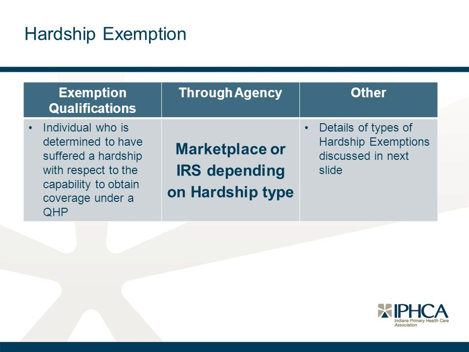 Hardship Exemption Exemption Qualifications Through AgencyOther Individual who is determined to have suffered a hardship with respect to the capabilit