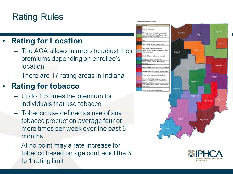 Rating for Location –The ACA allows insurers to adjust their premiums depending on enrollee's location –There are 17 rating areas in Indiana Rating fo