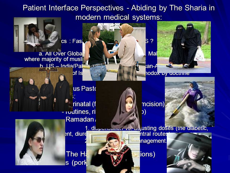 Patient Interface Perspectives - Abiding by The Sharia in modern medical systems: Issues: - Demographics : Fastest growing religion in US .
