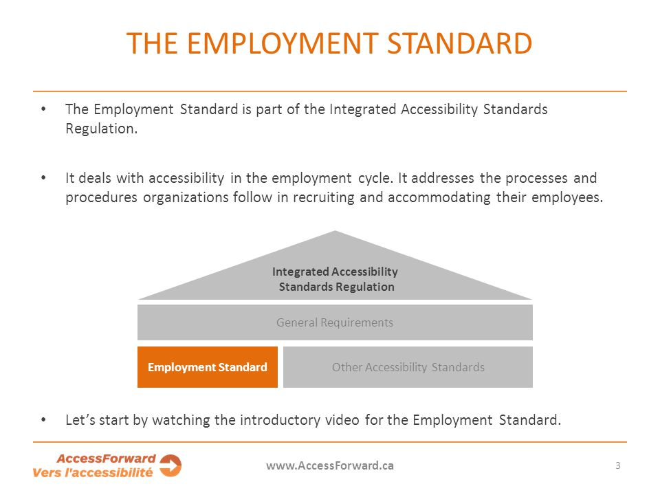 The Employment Standard is part of the Integrated Accessibility Standards Regulation.