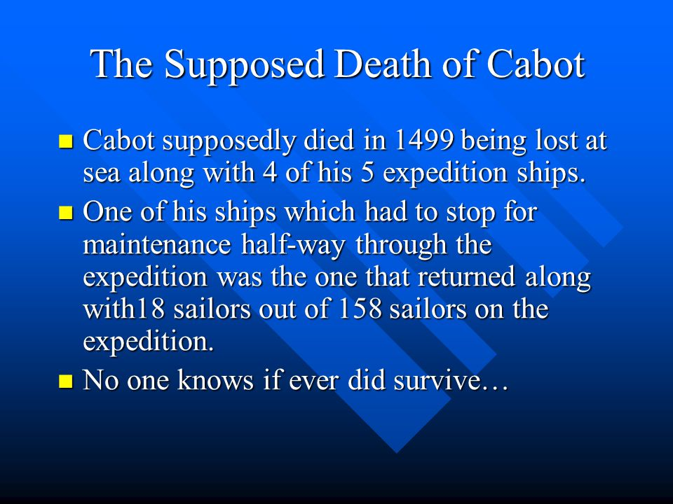 Where Cabot Ended Up. He ended up in Newfoundland in Canada He ended up in Newfoundland in Canada But he mistakes Newfoundland for Asia and immediatel