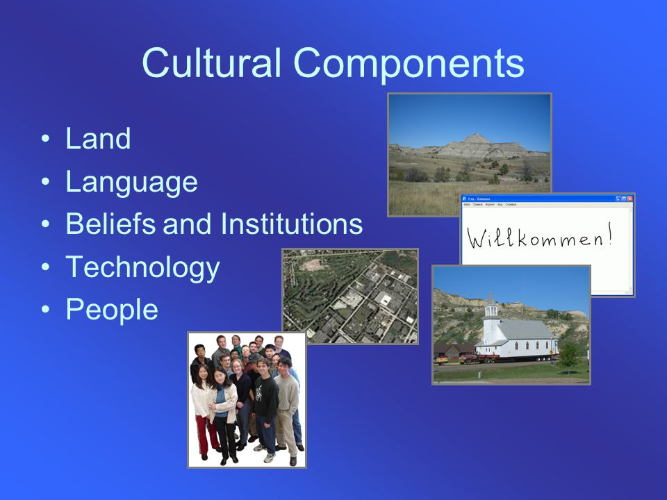 Cultural Components Land Language Beliefs and Institutions Technology People