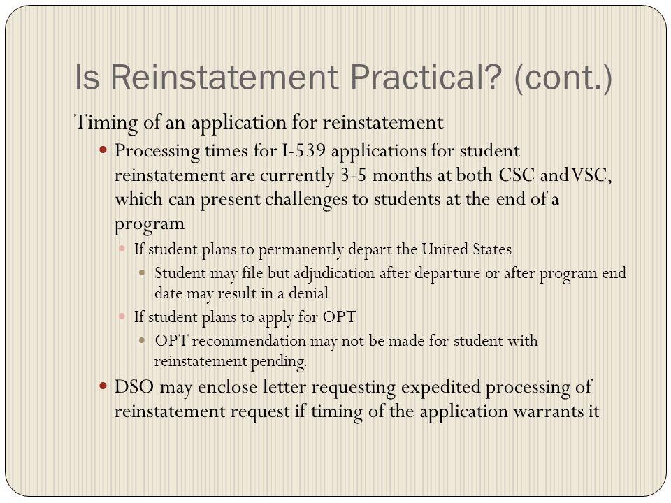 Is Reinstatement Practical.