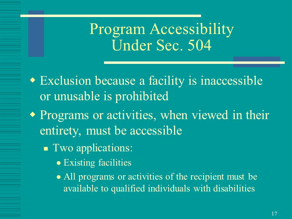 17 Program Accessibility Under Sec.