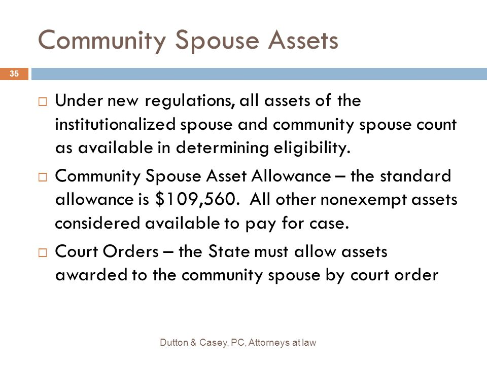 Community Spouse Assets  Under new regulations, all assets of the institutionalized spouse and community spouse count as available in determining eli