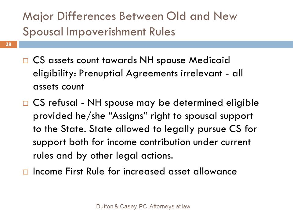 Major Differences Between Old and New Spousal Impoverishment Rules  CS assets count towards NH spouse Medicaid eligibility: Prenuptial Agreements irrelevant - all assets count  CS refusal - NH spouse may be determined eligible provided he/she Assigns right to spousal support to the State.