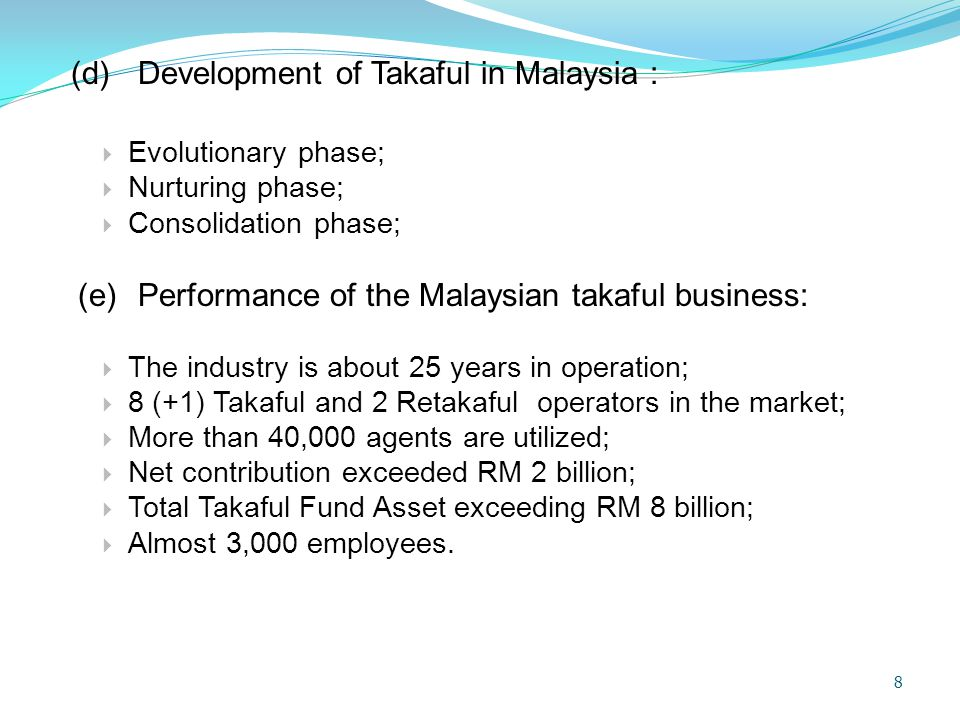 REGULATIONS ISSUED BY GOVERNING BODIES  Governing bodies tasked with the development of the takaful industry issuing fatwas and/or guidelines under the international Islamic organizations are: OIC Fiqh Academy, The Islamic Financial Services Board (IFSB) and The Accounting and Auditing Organization of Islamic Financial Institutions (AAOIFI).
