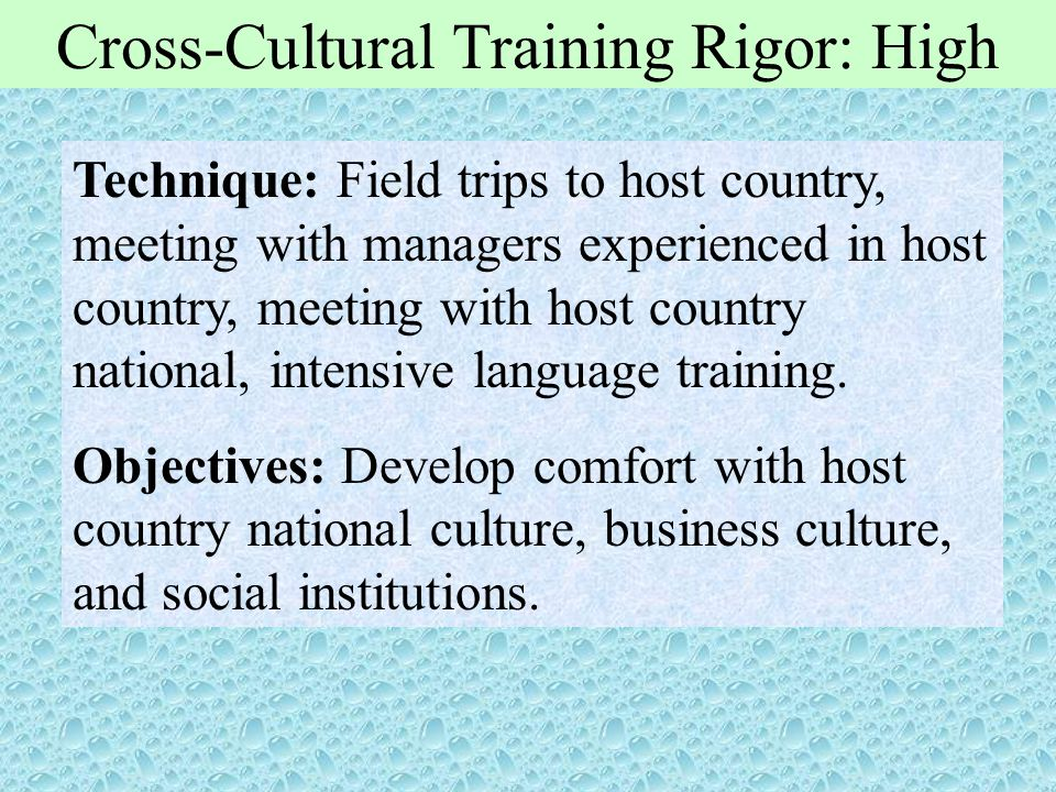 Cross-Cultural Training Rigor: High Technique: Field trips to host country, meeting with managers experienced in host country, meeting with host count