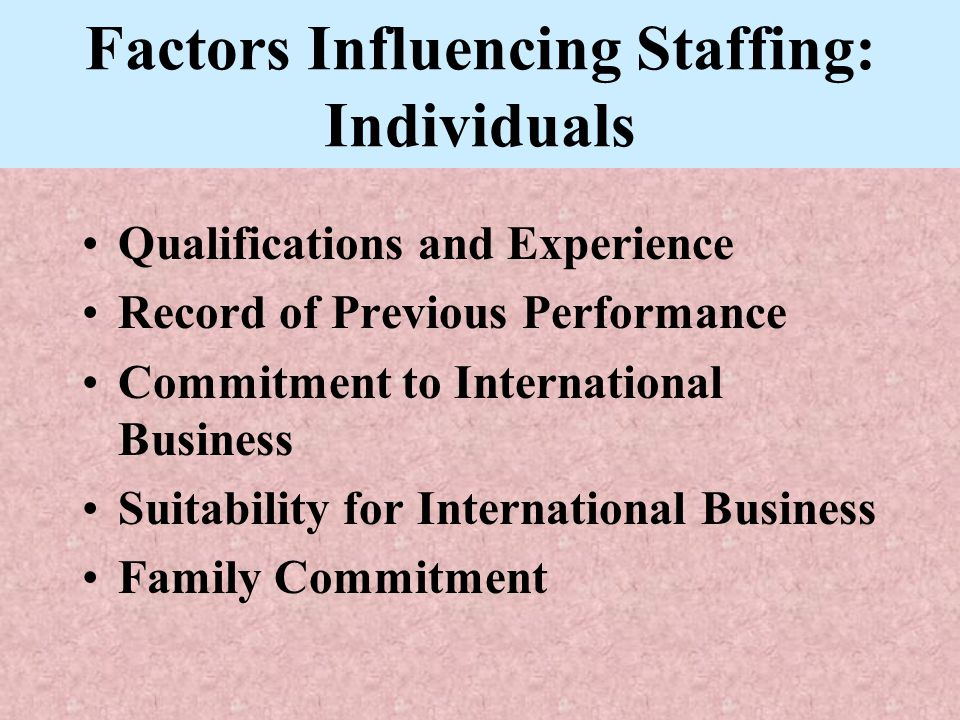 Factors Influencing Staffing: Individuals Qualifications and Experience Record of Previous Performance Commitment to International Business Suitabilit