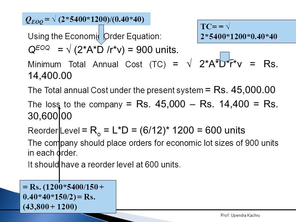Prof. Upendra Kachru Using the Economic Order Equation: Q EOQ = √ (2*A*D /r*v) = 900 units. Minimum Total Annual Cost (TC) = √ 2*A*D*r*v = Rs. 14,400.