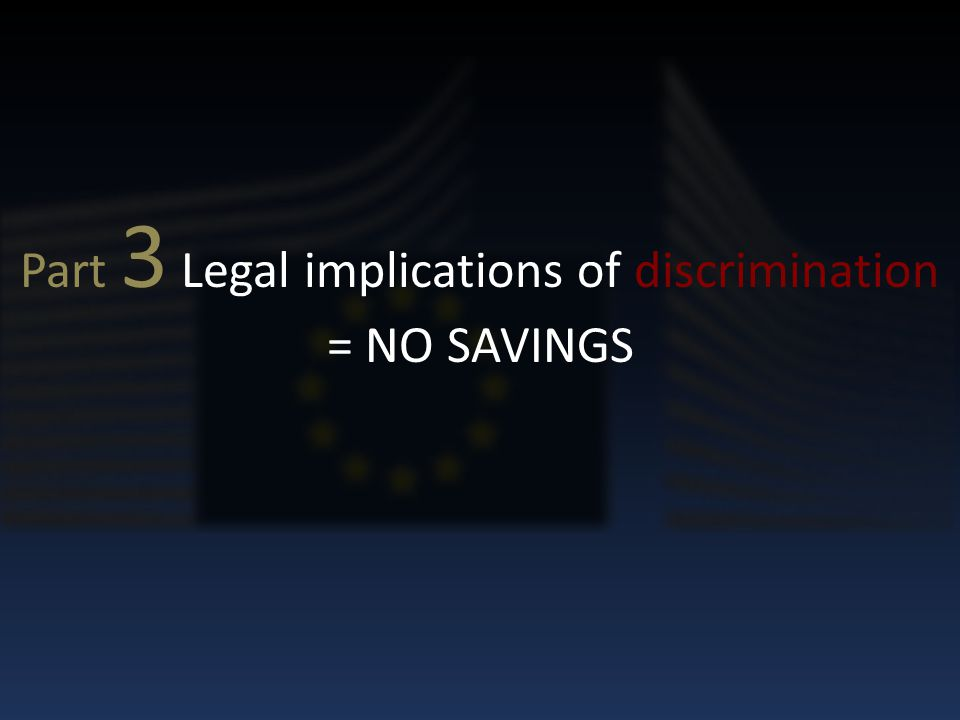 Part 3 Legal implications of discrimination = NO SAVINGS