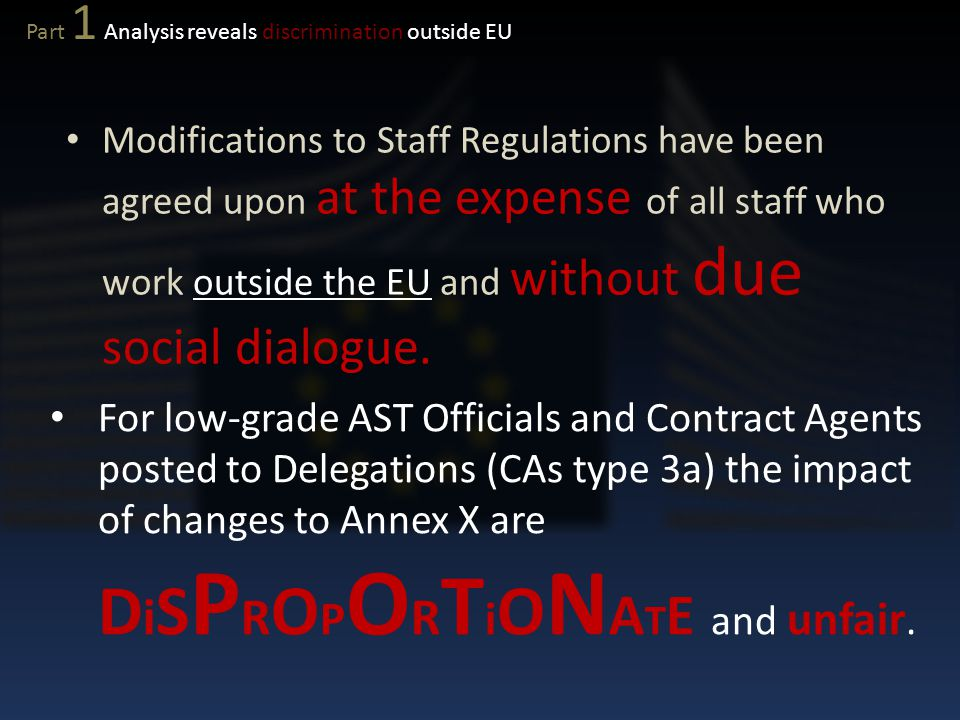 Modifications to Staff Regulations have been agreed upon at the expense of all staff who work outside the EU and without due social dialogue. For low-