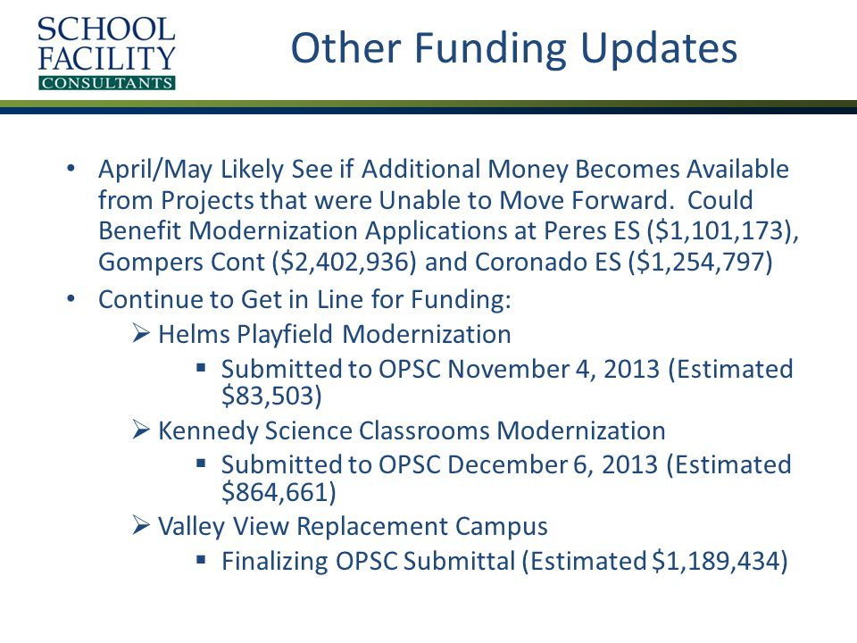 April/May Likely See if Additional Money Becomes Available from Projects that were Unable to Move Forward.