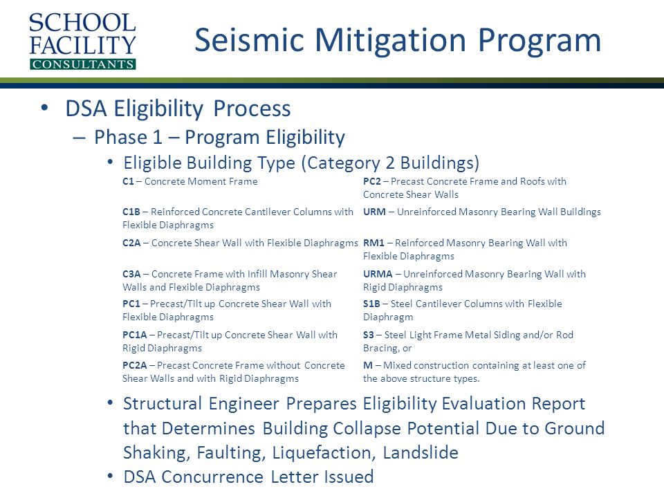Seismic Mitigation Program DSA Eligibility Process (continued) – Phase 2/3 – Replacement Funding/Rehabilitation Funding Minimum Required Work to Mitigate Cost Benefit Analysis DSA Concurrence Letter Issued
