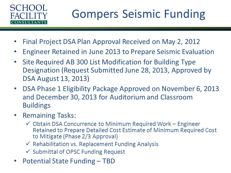 Gompers Seismic Funding Final Project DSA Plan Approval Received on May 2, 2012 Engineer Retained in June 2013 to Prepare Seismic Evaluation Site Required AB 300 List Modification for Building Type Designation (Request Submitted June 28, 2013, Approved by DSA August 13, 2013) DSA Phase 1 Eligibility Package Approved on November 6, 2013 and December 30, 2013 for Auditorium and Classroom Buildings Remaining Tasks: Obtain DSA Concurrence to Minimum Required Work – Engineer Retained to Prepare Detailed Cost Estimate of Minimum Required Cost to Mitigate (Phase 2/3 Approval) Rehabilitation vs.
