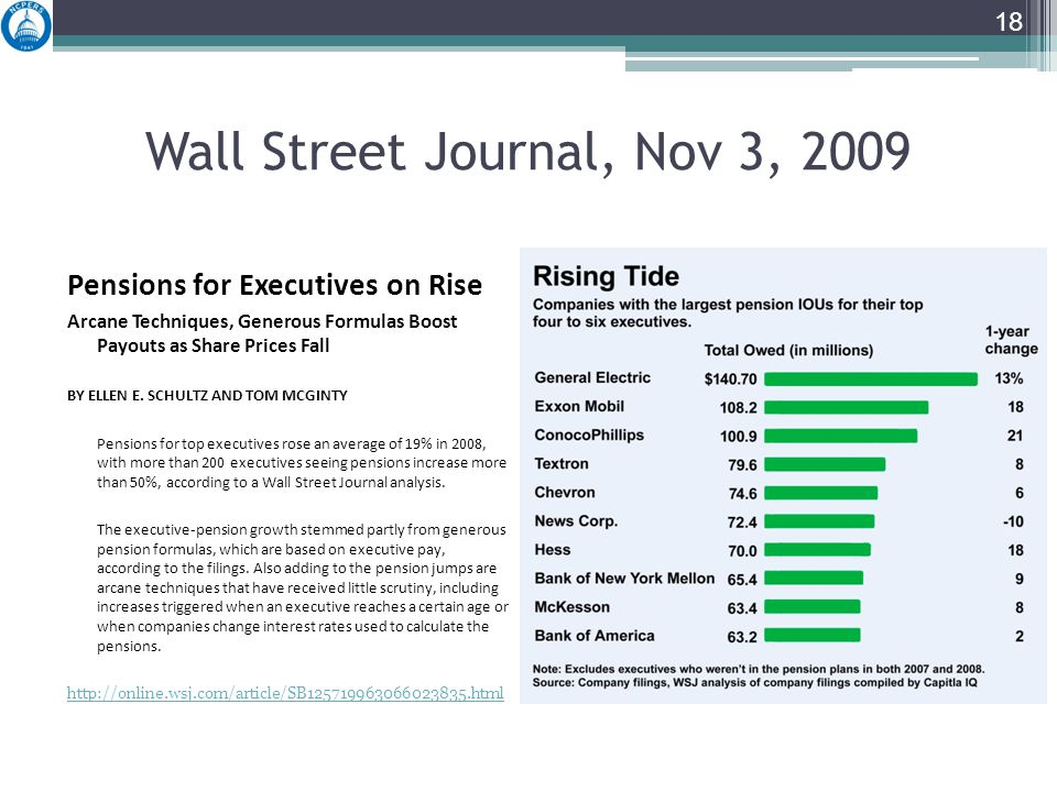 Wall Street Journal, Nov 3, 2009 Pensions for Executives on Rise Arcane Techniques, Generous Formulas Boost Payouts as Share Prices Fall BY ELLEN E.