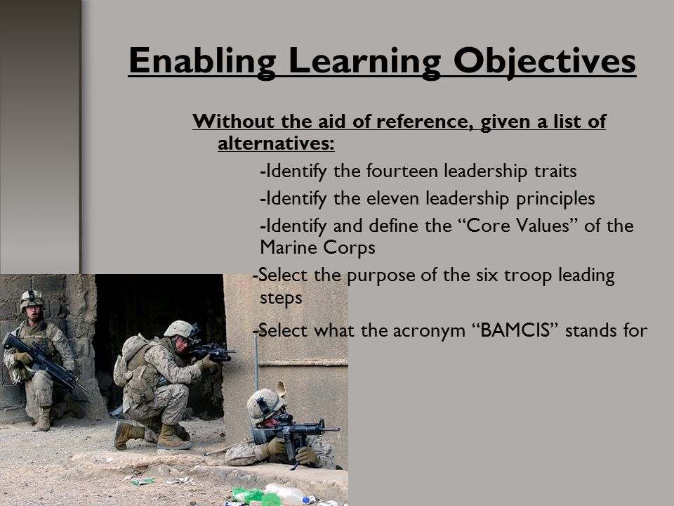 Enabling Learning Objectives Without the aid of reference, given a list of alternatives: -Identify the fourteen leadership traits -Identify the eleven