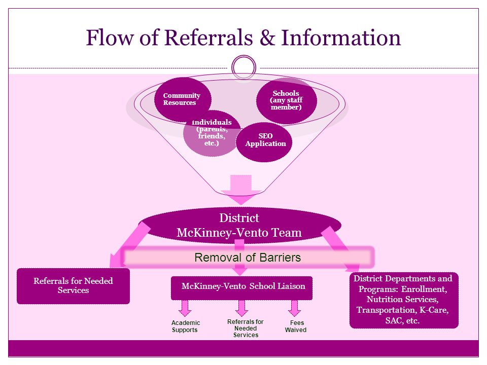 Flow of Referrals & Information Schools (any staff member) Individuals (parents, friends, etc.) District McKinney-Vento Team District Departments and Programs: Enrollment, Nutrition Services, Transportation, K-Care, SAC, etc.