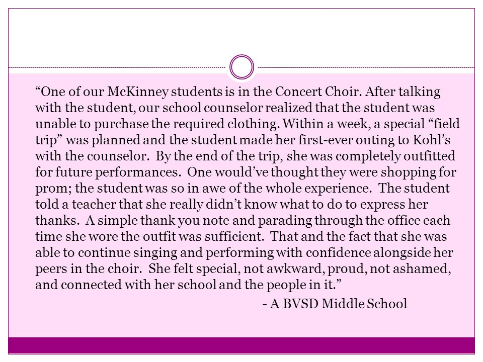 """""""One of our McKinney students is in the Concert Choir. After talking with the student, our school counselor realized that the student was unable to pu"""