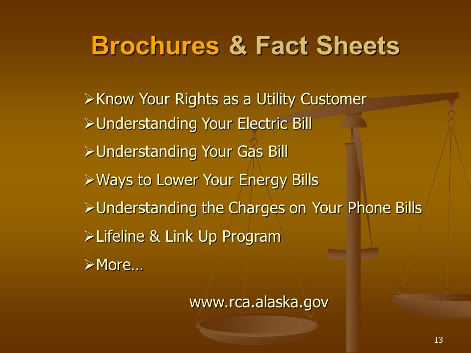 13 Brochures & Fact Sheets  Know Your Rights as a Utility Customer  Understanding Your Electric Bill  Understanding Your Gas Bill  Ways to Lower Your Energy Bills  Understanding the Charges on Your Phone Bills  Lifeline & Link Up Program  More… www.rca.alaska.gov