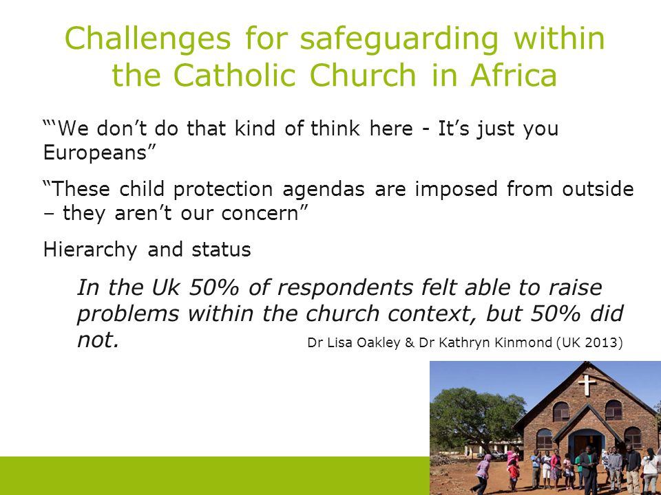 """Challenges for safeguarding within the Catholic Church in Africa """"'We don't do that kind of think here - It's just you Europeans"""" """"These child protect"""