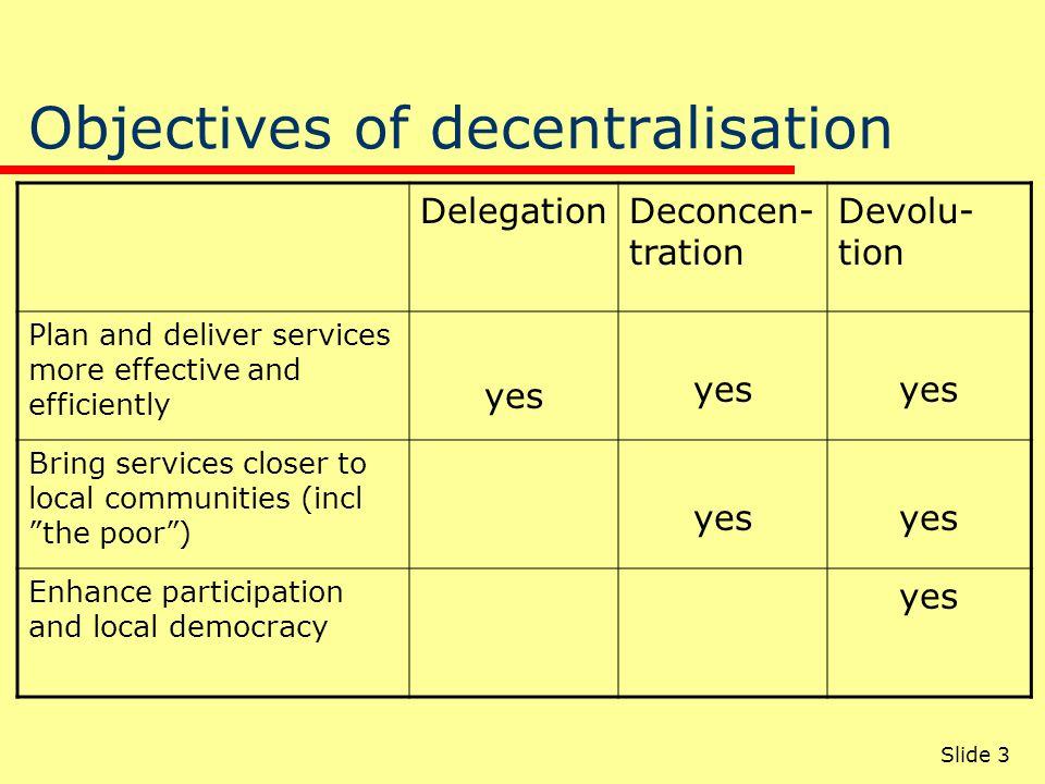 Slide 3 Objectives of decentralisation DelegationDeconcen- tration Devolu- tion Plan and deliver services more effective and efficiently yes Bring ser