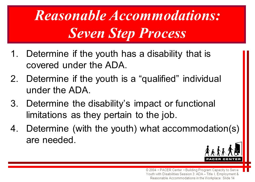 © 2004 PACER Center Building Program Capacity to Serve Youth with Disabilities Session 3: ADA – Title I, Employment & Reasonable Accommodations in the Workplace: Slide 14 Reasonable Accommodations: Seven Step Process 1.Determine if the youth has a disability that is covered under the ADA.