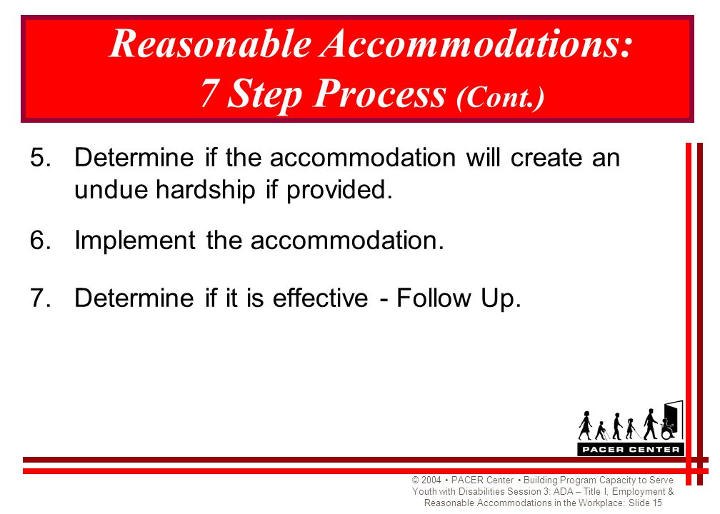 © 2004 PACER Center Building Program Capacity to Serve Youth with Disabilities Session 3: ADA – Title I, Employment & Reasonable Accommodations in the Workplace: Slide 15 Reasonable Accommodations: 7 Step Process (Cont.) 5.Determine if the accommodation will create an undue hardship if provided.