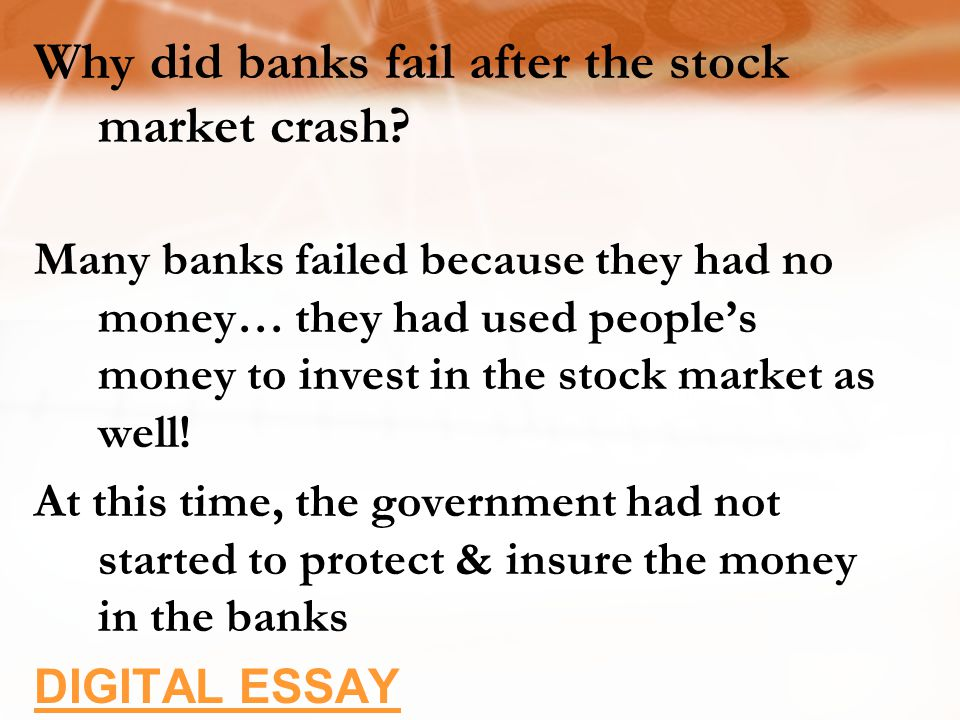 Why did banks fail after the stock market crash.