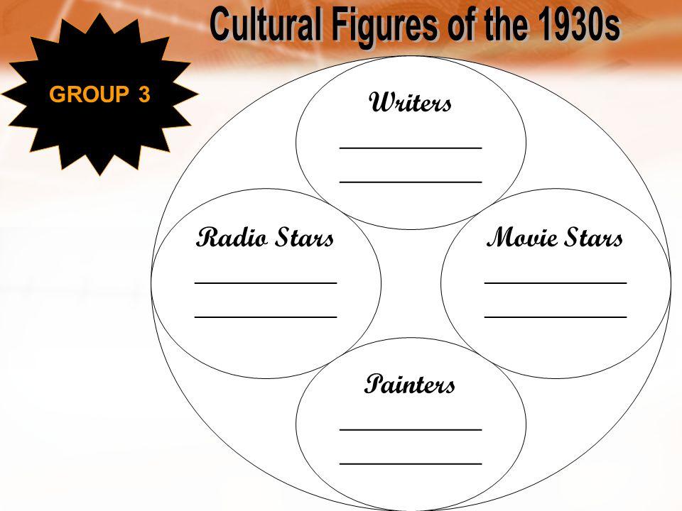 Writers __________ Radio Stars__________ Painters__________ Movie Stars__________ GROUP 3