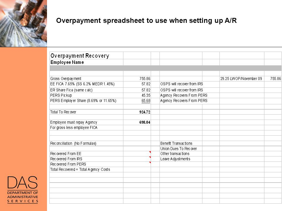 Overpayment spreadsheet to use when setting up A/R