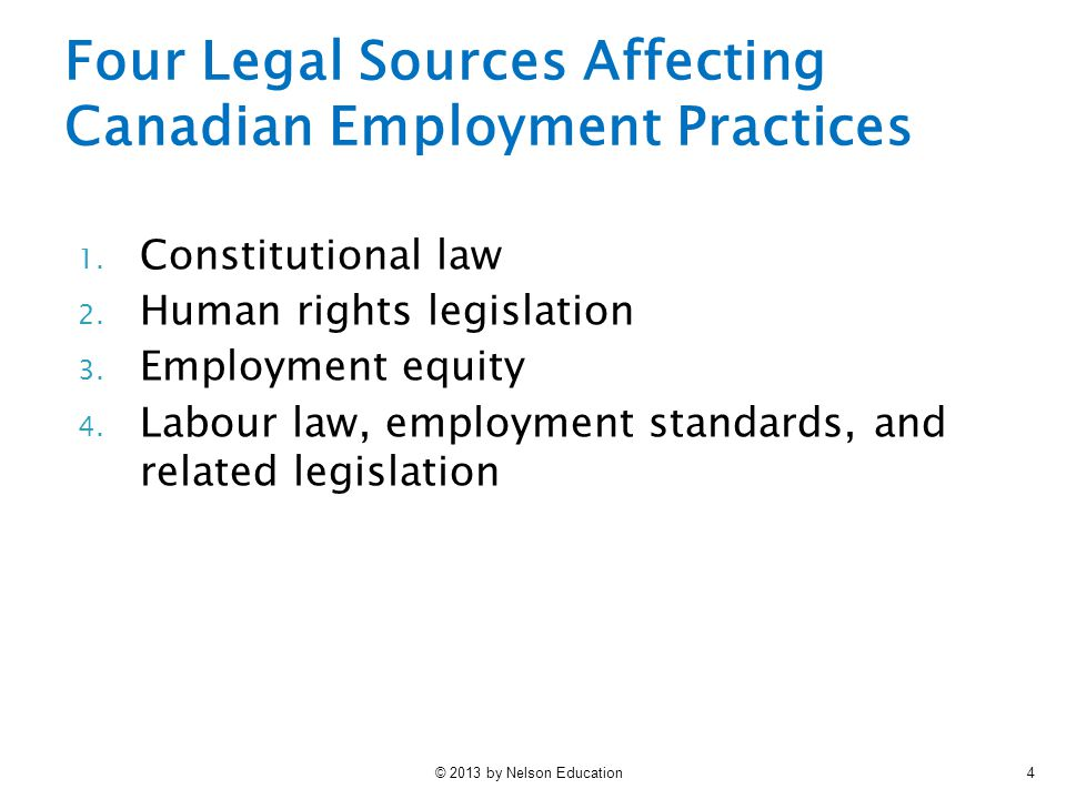 © 2013 by Nelson Education4 Four Legal Sources Affecting Canadian Employment Practices 1. Constitutional law 2. Human rights legislation 3. Employment