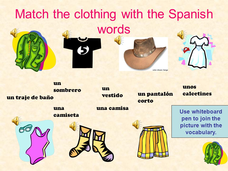 Clothing I can say the Spanish words for items of clothing.