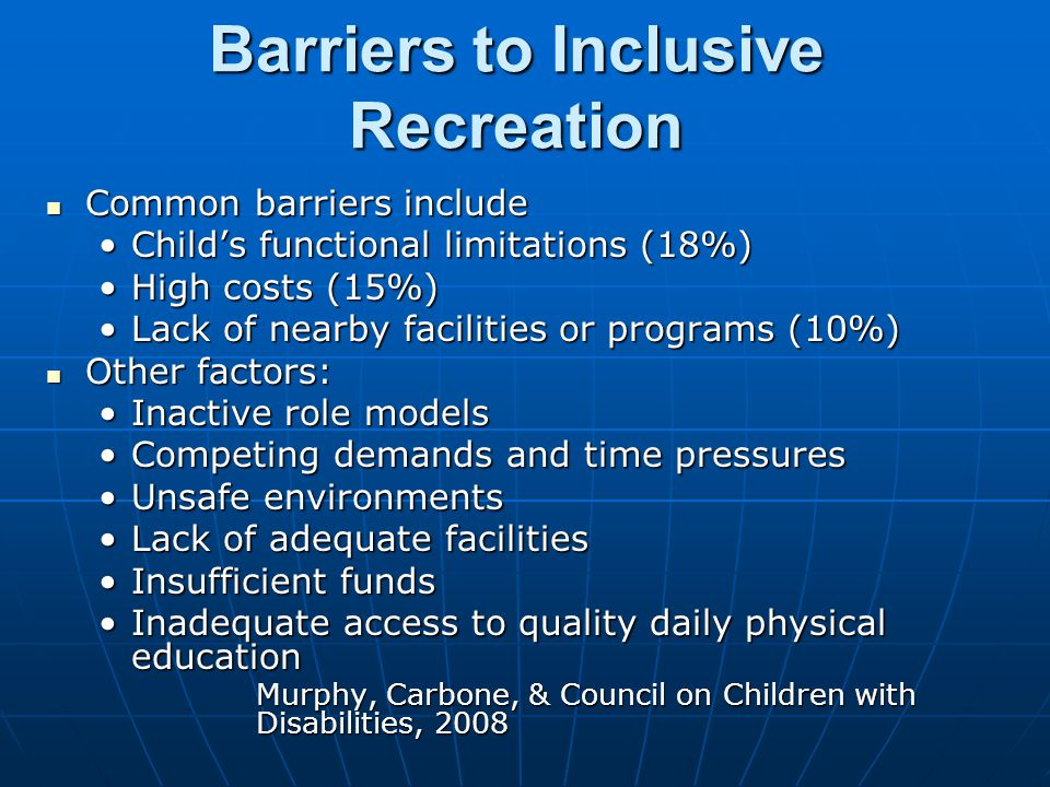 Barriers to Inclusive Recreation Common barriers include Common barriers include Child's functional limitations (18%)Child's functional limitations (18%) High costs (15%)High costs (15%) Lack of nearby facilities or programs (10%)Lack of nearby facilities or programs (10%) Other factors: Other factors: Inactive role modelsInactive role models Competing demands and time pressuresCompeting demands and time pressures Unsafe environmentsUnsafe environments Lack of adequate facilitiesLack of adequate facilities Insufficient fundsInsufficient funds Inadequate access to quality daily physical educationInadequate access to quality daily physical education Murphy, Carbone, & Council on Children with Disabilities, 2008