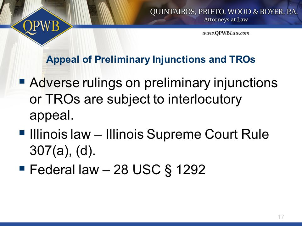 Appeal of Preliminary Injunctions and TROs  Adverse rulings on preliminary injunctions or TROs are subject to interlocutory appeal.
