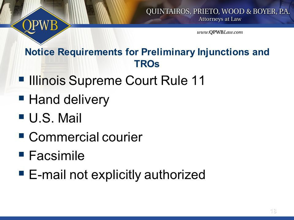 Notice Requirements for Preliminary Injunctions and TROs  Illinois Supreme Court Rule 11  Hand delivery  U.S. Mail  Commercial courier  Facsimile